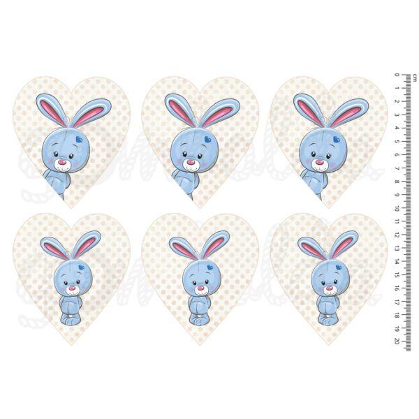 Mintás barkácsfilc - cuki állatok - kék nyuszi szíveken