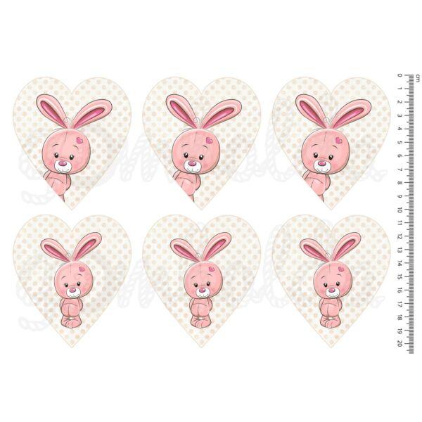 Mintás barkácsfilc - cuki állatok - rózsaszín nyuszik szíveken
