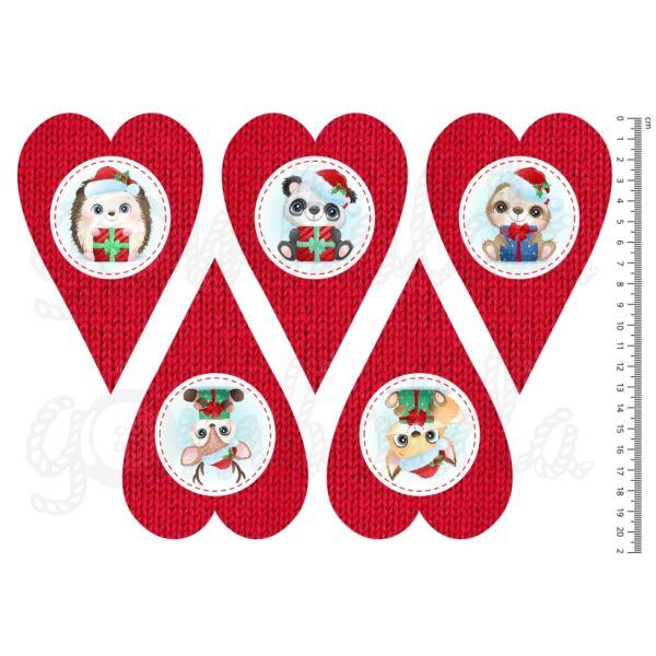 Mintás barkácsfilc - cuki karácsonyi állatok - kötött szívek