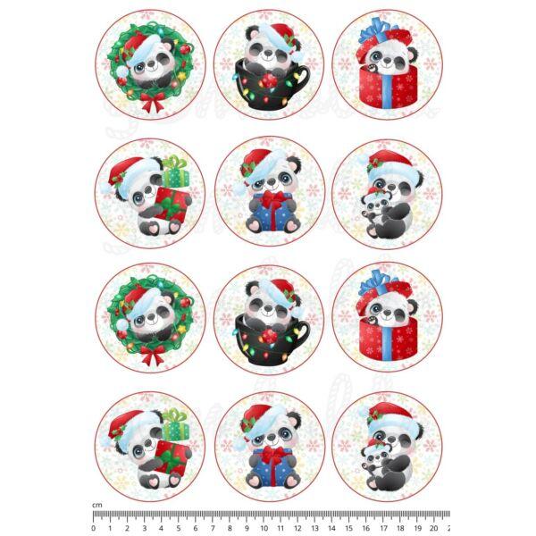 Mintás barkácsfilc - cuki pandák hópelyhes körökben