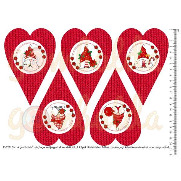 Mintás barkácsfilc - cuki manók - piros kötött szívek
