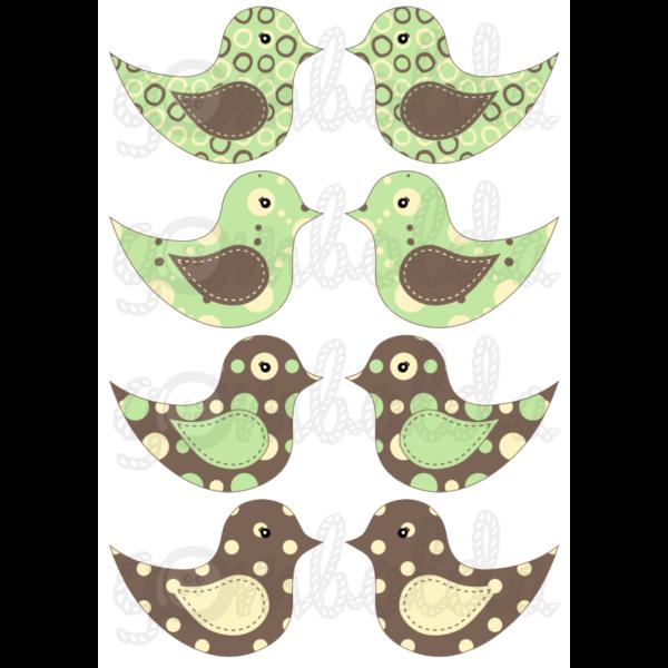 Mintás barkácsfilc - kivágható madarak barna zöld pöttyös - 5db vagy 10db