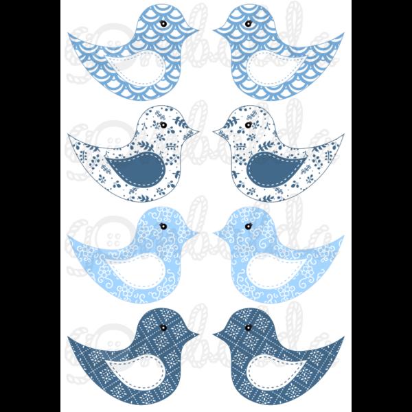 Mintás barkácsfilc - kivágható madarak világoskék kék mintás - 5db vagy 10db