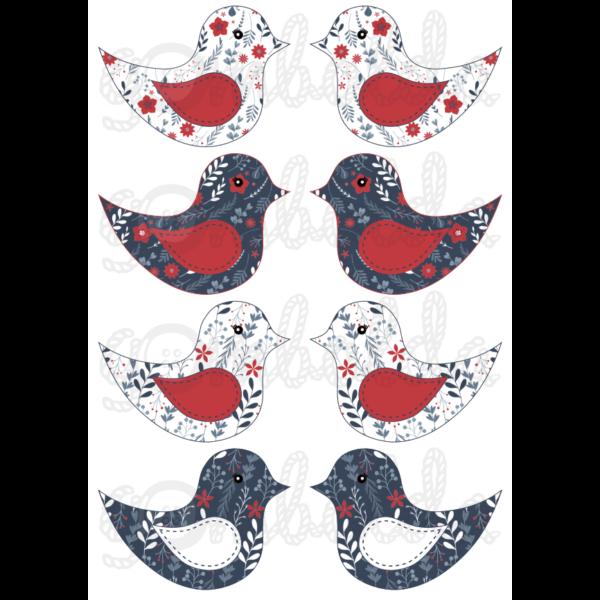 Mintás barkácsfilc - kivágható madarak sötétkék piros virágos - 5db vagy 10db