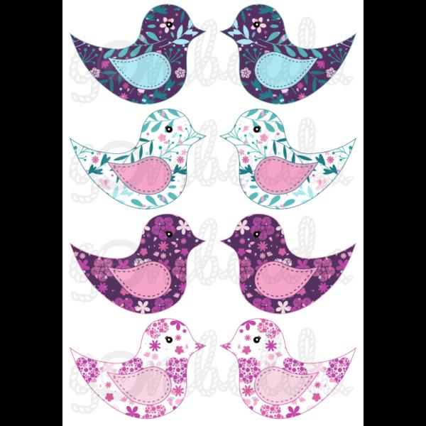 Mintás barkácsfilc - kivágható madarak lilás virágos - 5db vagy 10db