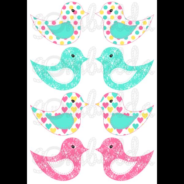 Mintás barkácsfilc - kivágható madarak türkiz pink sárga - 5db vagy 10db