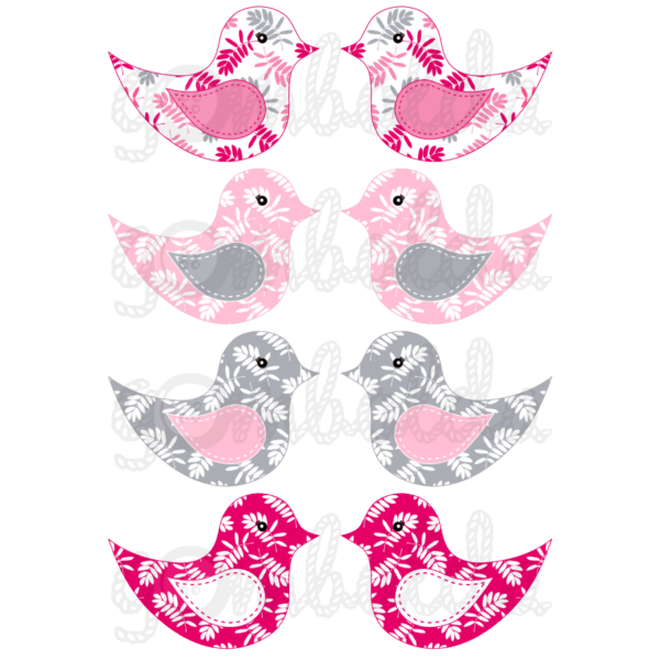 Mintás barkácsfilc - kivágható madarak rózsaszín szürke leveles - 5db vagy 10db
