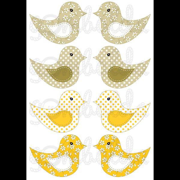 Mintás barkácsfilc - kivágható madarak sárgás - 5db vagy 10db