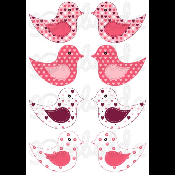 Mintás barkácsfilc - kivágható madarak rózsaszín szíves - 5db vagy 10db