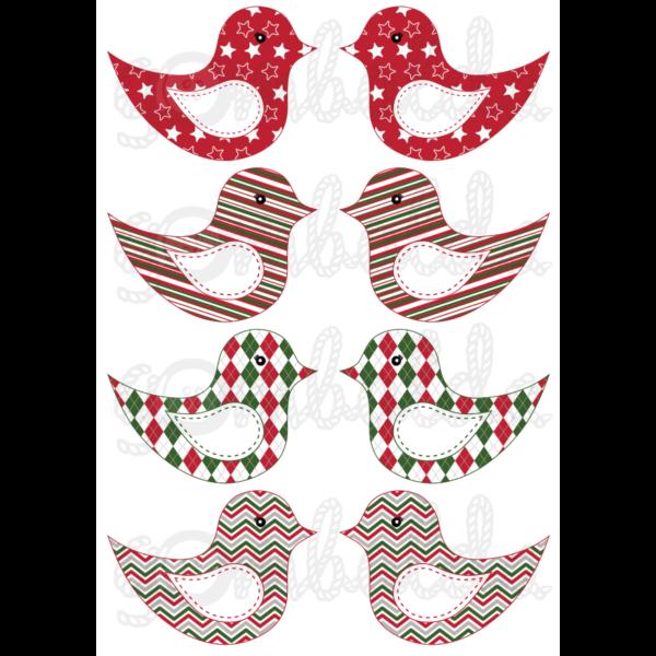 Mintás barkácsfilc - kivágható karácsonyi madarak geometriai mintás - 5db vagy 10db