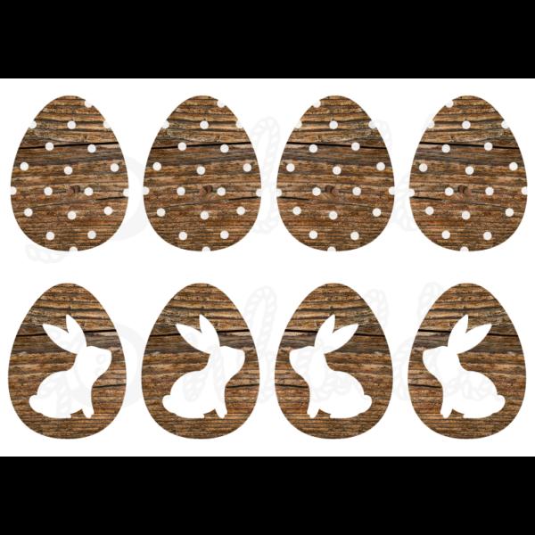 Mintás barkácsfilc - nyuszik sötétbarna fa tojásokon - 5db vagy 10db