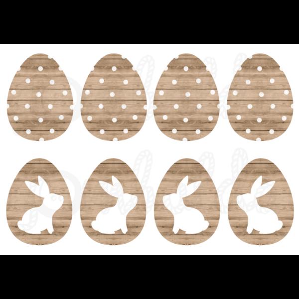 Mintás barkácsfilc - nyuszik világosbarna fa tojásokon - 5db vagy 10db