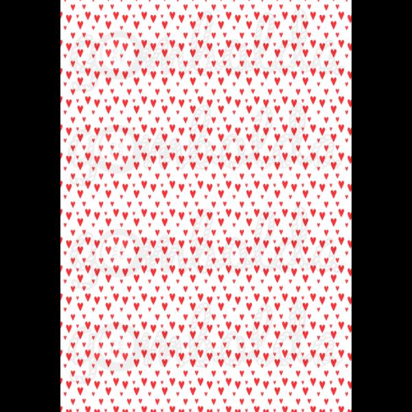 Mintás barkácsfilc - fehér alapon piros szívek - 5db vagy 10db