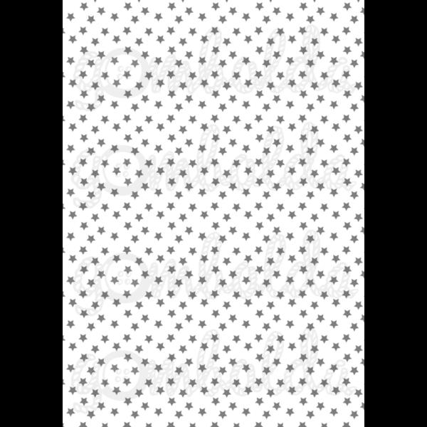 Mintás barkácsfilc - fehér alapon szürke csillagok - 5db vagy 10db