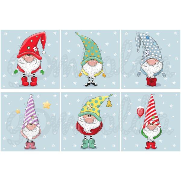 Mintás barkácsfilc - karácsonyi manók kék kártyákon