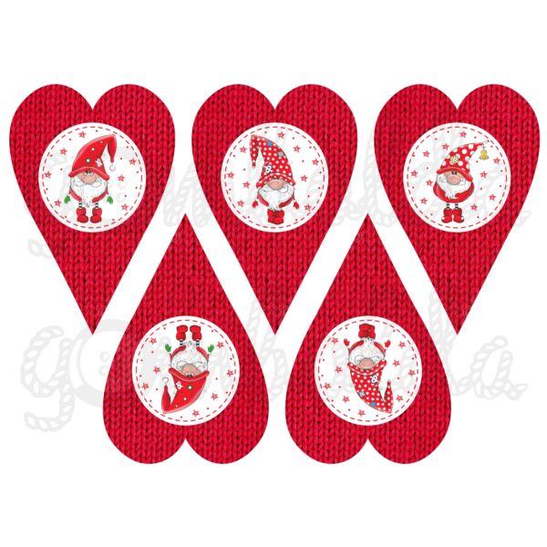 Mintás barkácsfilc - piros karácsonyi manók kötött szívekben