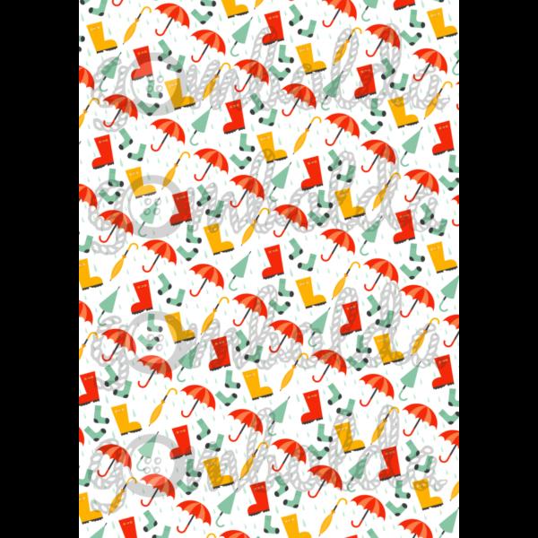 Mintás barkácsfilc - gumicsizmák esernyők - 5db vagy 10db