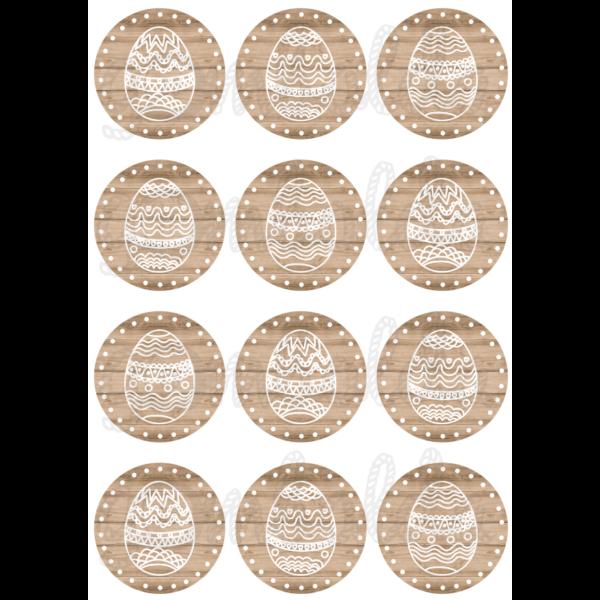 Mintás barkácsfilc - hímes tojás világosbarna fa körökben - 5db vagy 10db