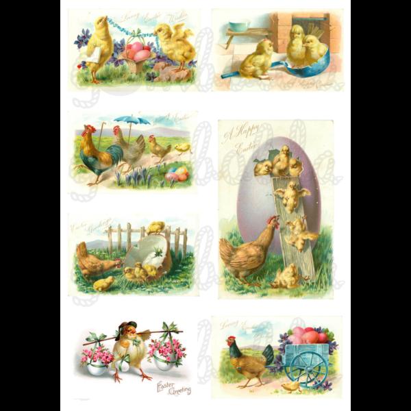 Mintás barkácsfilc - húsvéti üdvözletek tyúkokkal - 5db vagy 10db