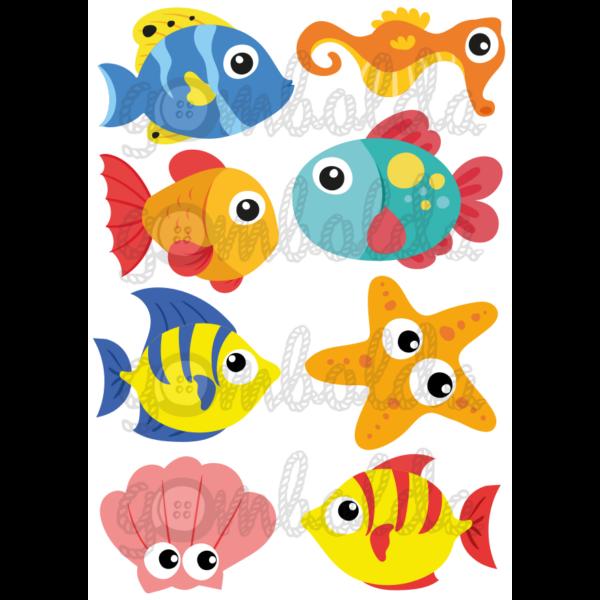 Mintás barkácsfilc - halak - 5db vagy 10db