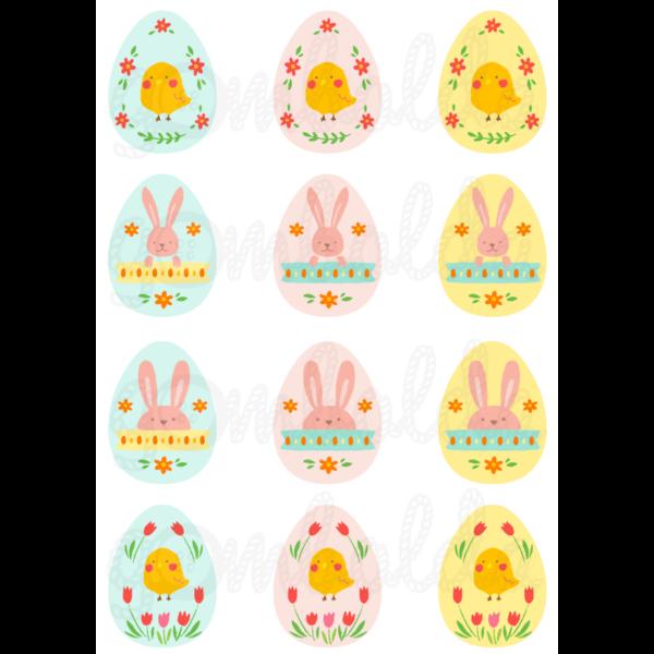 Mintás barkácsfilc - színes  húsvéti tojások csibékkel - 5db vagy 10db
