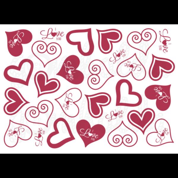 Mintás barkácsfilc - I love You - 5db vagy 10db