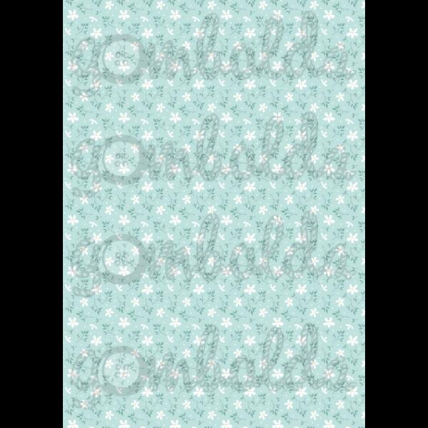 Mintás barkácsfilc - kékes alapon apró fehér virágok - 5db vagy 10db