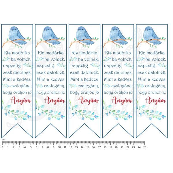 Mintás barkácsfilc - könyvjelző - anyák napi madárkás