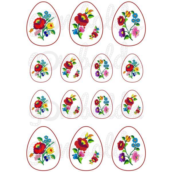 Mintás barkácsfilc - tojások kalocsai mintával - 5db vagy 10db