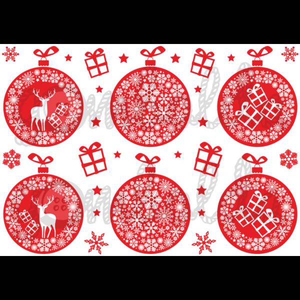 Mintás barkácsfilc - karácsonyi gömbök piros alapon - 5db vagy 10db