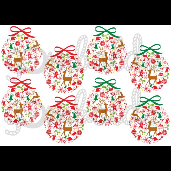 Mintás barkácsfilc - karácsonyi gömbök - színes - 5db vagy 10db