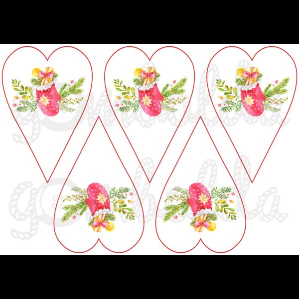 Mintás barkácsfilc - karácsonyi kesztyűk szívekben - 5db vagy 10db