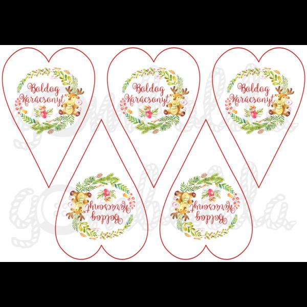 Mintás barkácsfilc - karácsonyi koszorúk szívekben - 5db vagy 10db