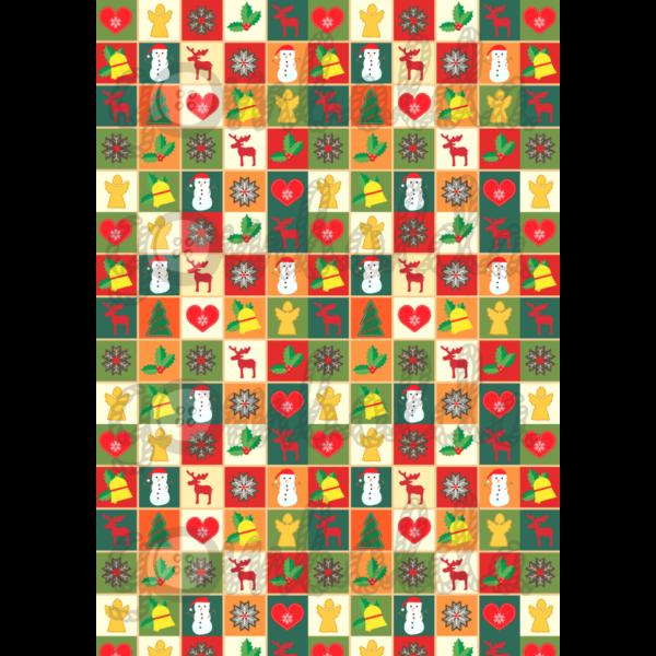 Mintás barkácsfilc - karácsonyi patchwork - 5db vagy 10db
