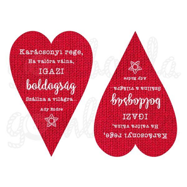 Mintás barkácsfilc - Karácsonyi rege - piros kötött szíveken NAGY