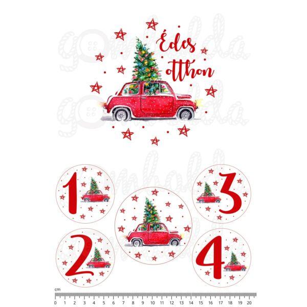Mintás barkácsfilc - karácsonyi piros autó - adventi szett