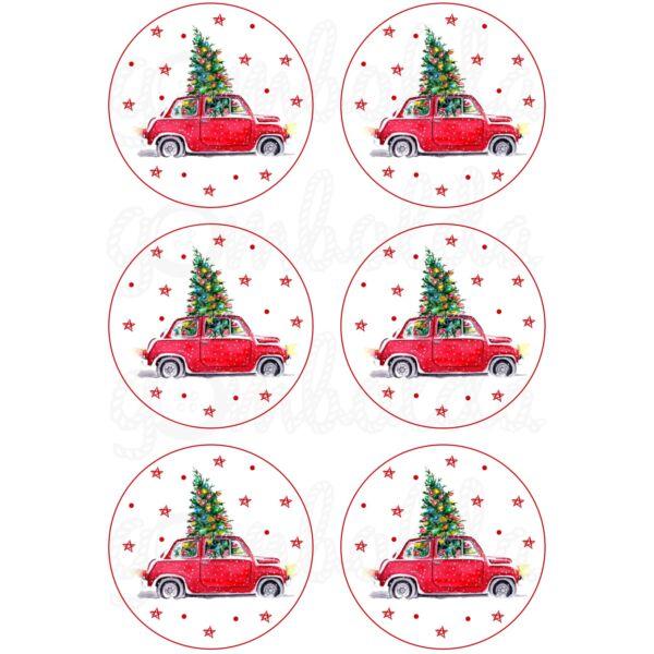 Mintás barkácsfilc - karácsonyi piros autó körökben