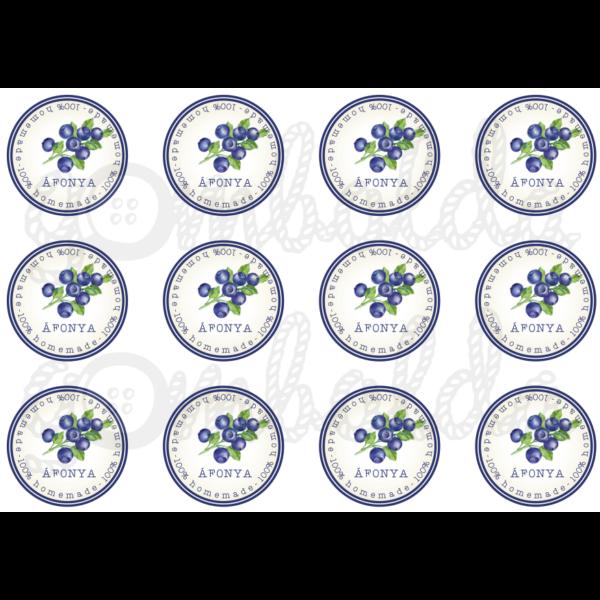 Befőző címke mintás barkácsfilc - áfonya - 60mm - 5db vagy 10db