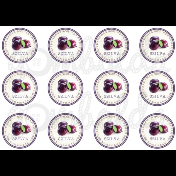 Befőző címke mintás barkácsfilc - szilva - 60mm - 5db vagy 10db