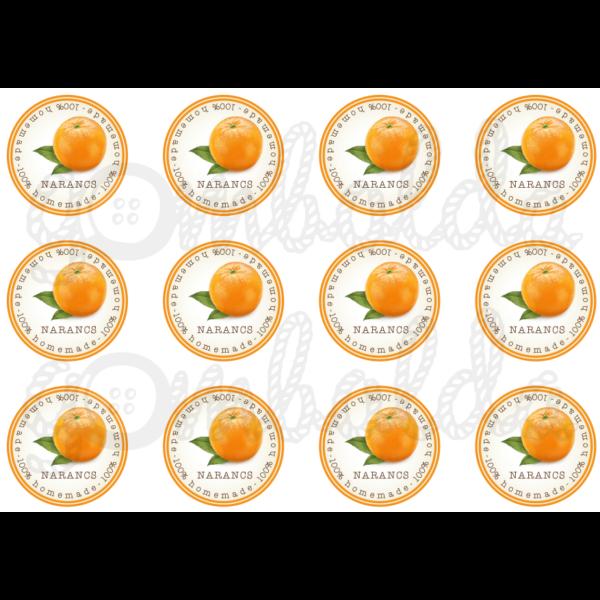 Befőző címke mintás barkácsfilc - narancs - 60mm - 5db vagy 10db
