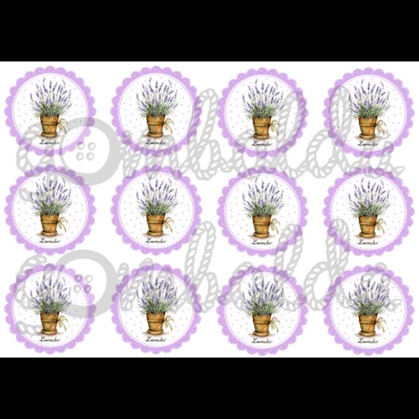 Mintás barkácsfilc - levendulák lila virágokban - 5db vagy 10db