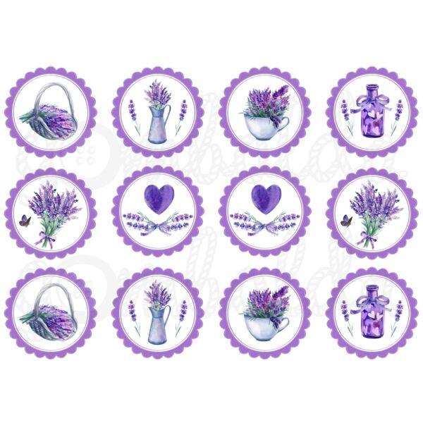 Mintás barkácsfilc - levendula Provence - lila virágokban