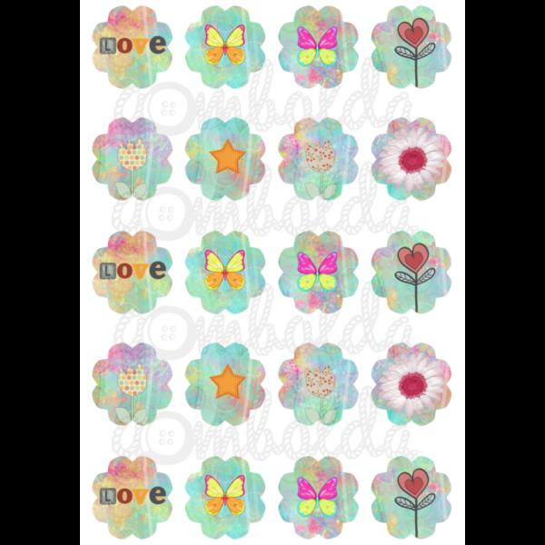 Mintás barkácsfilc - Love pillangók virágok - 5db vagy 10db