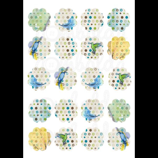 Mintás barkácsfilc - madarak pöttyös virágokban - 5db vagy 10db