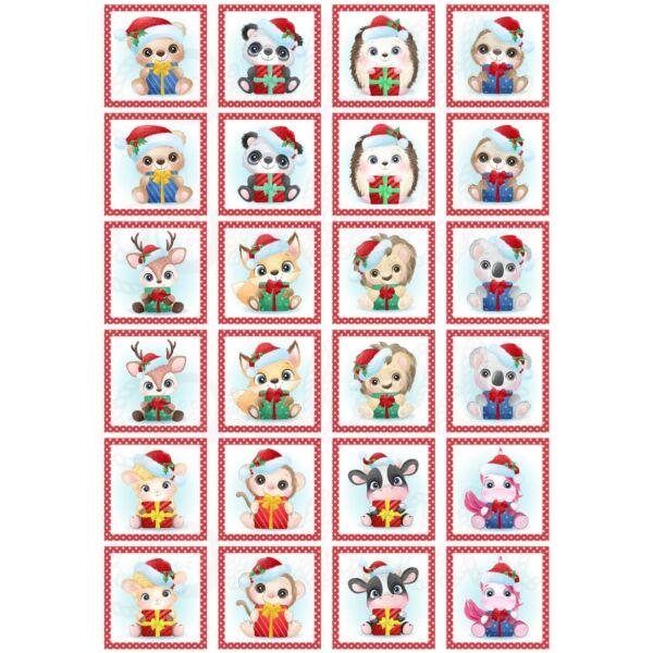 Mintás barkácsfilc - memória játék alap - karácsonyi állatok