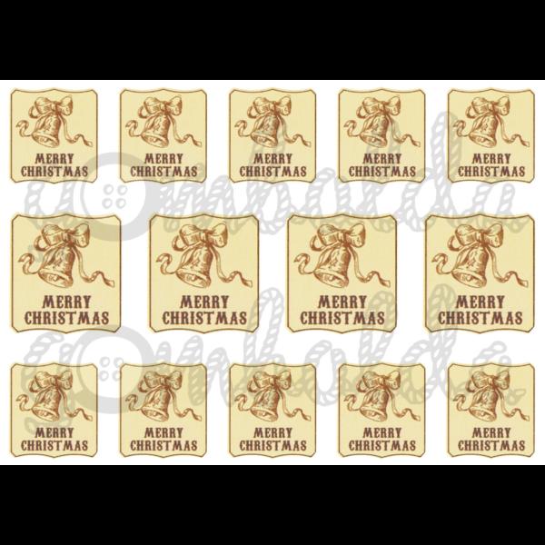 Mintás barkácsfilc - Merry Christmas vintage címkék - négyszög - 5db vagy 10db