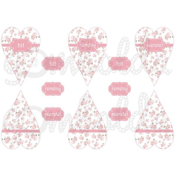 Mintás barkácsfilc - mini szívek - hit remény szeretet - rózsás - 5db vagy 10db