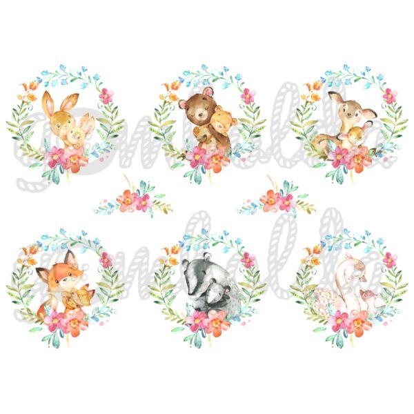 Mintás barkácsfilc - Mother and Baby virágos koszorúkban - 5db vagy 10db
