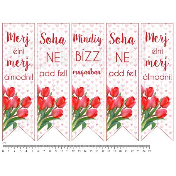 Mintás barkácsfilc - motivációs könyvjelző - tulipános