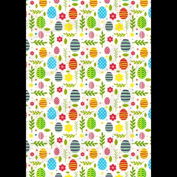 Mintás barkácsfilc - színes tojások virágok és levelek között - 5db vagy 10db